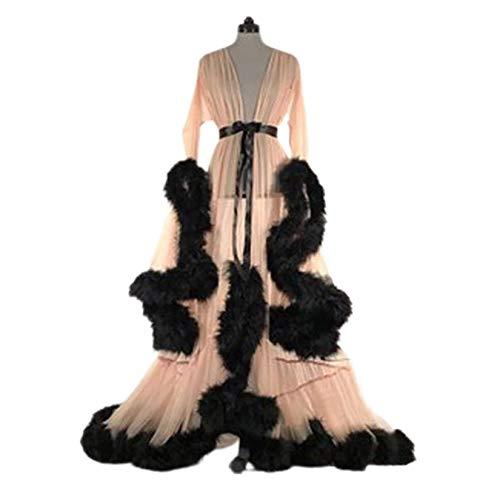HYWL Damen Feder Braut Robe Hochzeit Schal Lange Dessous Robe Nachthemd Bademantel Nachtwäsche mit Gürtel,2 beige