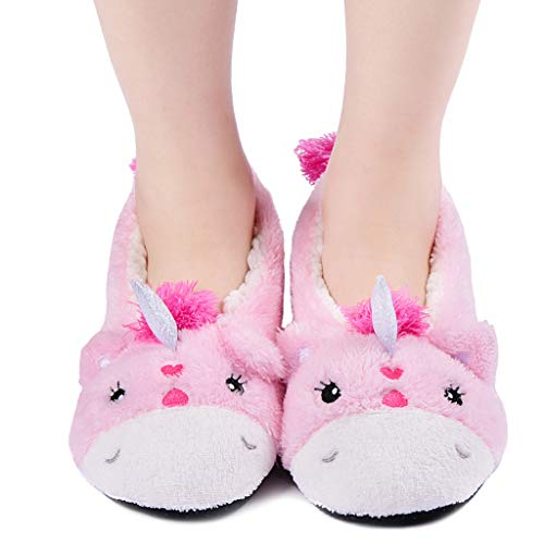 Panda Bros Womens Cozy&Warm Animal Slipper Socks with Grippers-House Socks(Pink Unicorn,8-10)
