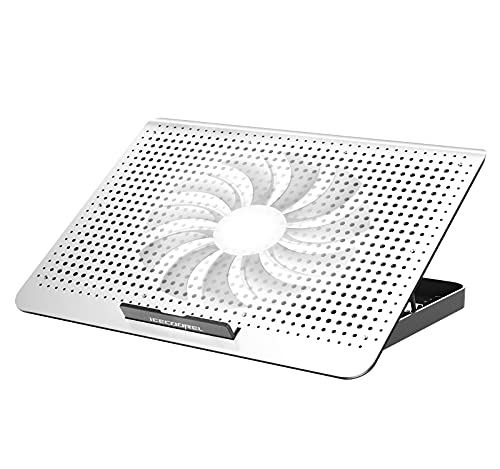 ICE COOREL Laptop Cooling Pad with One Quiet Cooling Fan, Laptop Cooler Stand with 7 Height Adjustable, Notebook Cooler for Laptop 15.6 14 13 12 Inch, Two USB Port (Silver)