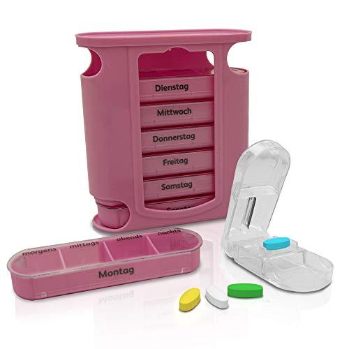Nestor & Gamble Tablettenbox voor 7 dagen, hoogwaardig pillendoosje met 4 vakken, medicamentenbox inclusief tabletverdeler, praktische pillendoos voor ochtends, lunch, 's avonds en 's nachts einzeln roze