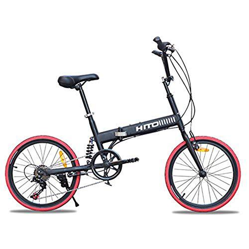 Thole Bicicleta Plegable Amortiguador 20 Pulgadas Off Road Antideslizante MontañA Hombre Y Mujer Adulto SeñOra Bicicleta,Black