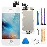 FLYLINKTECH Écran LCD Tactile de Remplacement pour iPhone 5 Blanc 4.0 Pouces,Modèle Complet préassemblés (caméra Frontale/Bouton Home/capteur de proximité/écouteur) Kit d'outils de réparation (Blanc)