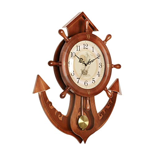 Reloj de péndulo de Pared clásico Reloj de Pared de timón de Barco silencioso Creativo Calidad de durazno Marco de Madera (marrón) (Color : A)