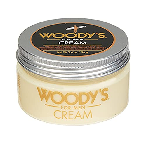 Woody's Styling Cream for Men, Flexible Styling Cream, Controls Curly and Wavy Hair, Water-Soluble with a Healthy Shine Finish, Adds Volume and Thickness, contains Fibroin, Compact-size, 3.4 oz. 1-pc