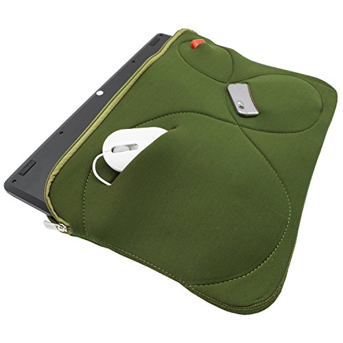 Notebook Tasche Mappe Hulle Neopren fur MacBook Laptop bis 173 Schutztasche Cover 3 Zubehorfacher Oliv