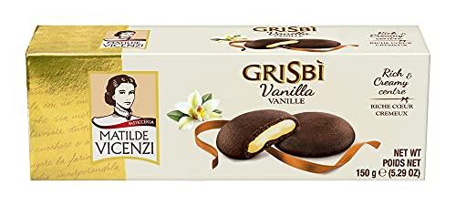 Matilde Vicenzi Grisbi Vanilla – Italienische Kekse mit samtiger Cremefüllung, Mürbeteigkekse nach italienischer Backtradition, 14er Pack Mürbeteiggebäck(14 x 150 g)