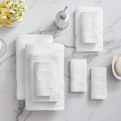 Welhome 100% Cotton Towel (White)- Set of 8 - Quick Dry -...
