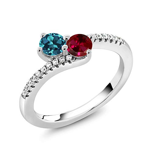 Gem Stone King 925 Sterling Silver Build Your Own Personalized Promise Love Bypass Birthstone Fashion Mothers Women's Ring (Size 8)