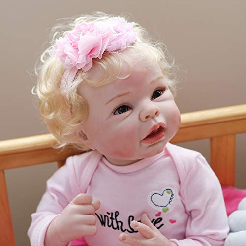 22inch55cm Reborn Baby Dolls Soft Vinyl Silicone with Cotton Body Newborn Babies Xmas Gift (Bowknot Clothes)