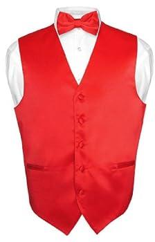 Men s Dress Vest & BowTie Solid RED Color Bow Tie Set for Suit or Tuxedo Large
