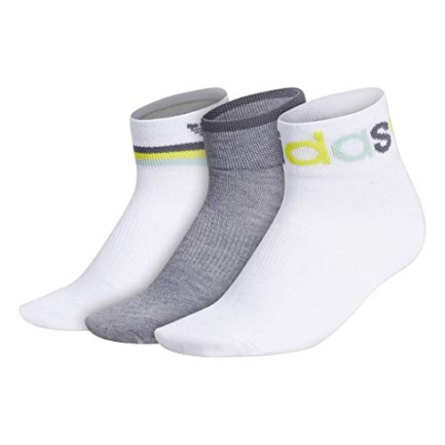 adidas Originals Women's Graphic Shortie Ankle Socks (3-Pair), White/Grey Heather/Onix/Green Tint/Bright Yellow, Medium, (Shoe Size 5-10)