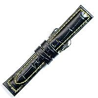 【牛革型押し-ワイド・厚手】XDK011-ay24 色:黒・黄ステッチ/ベルト幅:24-22mm /厚さ:約 5mm
