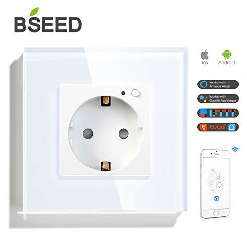 BSEED 16A Wifi Smart Steckdose Work mit Alexa Tuya und Google Home 1 Fach Steckdose Weiß 86mm WLAN Smarter Schuko Glas EU Standard