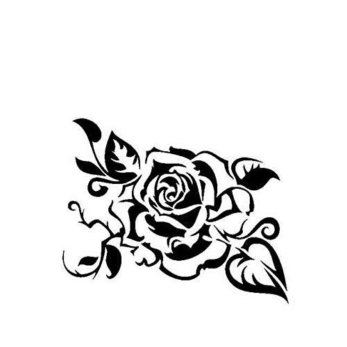 BJDKF 16,7 cm * 13,7 cm Kreative Dekoration Von Rosen Auto Aufkleber Vinyl Aufkleber Schwarz/Silber C23-0459 Schwarz
