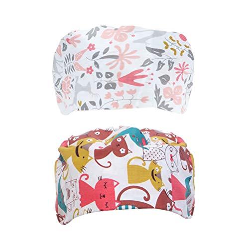 TENDYCOCO 2 Pezzi Regolabile cap di Lavoro Stampati Cotone Bouffant Hat Scrub Caps (Fiore di Volpe)