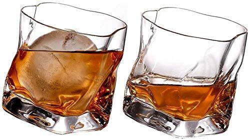 ZHTY Vaso de Whisky Doble Antiguo, 10 oz de Base Pesada, Vasos de Bar para Bebidas escocesas, borbónicas y de cóctel, decantador de 2 Piezas