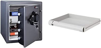 SentrySafe SFW123GDC Fireproof Safe and Waterproof Safe with Digital Keypad 1.23 Cubic Feet, Gun Metal Grey & 912 Tray Accessory, For SFW082 and SFW123 Fire Safes