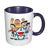 IUBBKI Tazza in ceramica Doraemon, grande tazza da tè per ufficio a casa, 11 once, lavabile in lavastoviglie e adatta al microonde, 1 pezzo (bianco)