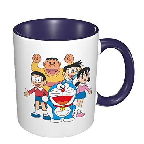 Taza de cerámica IUBBKI Doraemon, taza de té grande para oficina en casa, 11 onzas, apta para lavavajillas y microondas, 1 pieza (blanco)