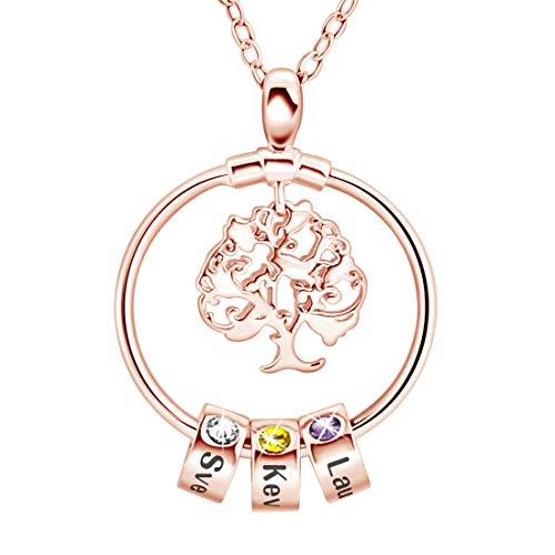 Collar Infinito De Plata 925 Con Árbol De La Madre Con 1-8 Nombres Collar Personalizado Con Encanto Familiar Collar Único De Aniversario De Cumpleaños Del Día De La Madre Para Mujer(Oro rosa-20')