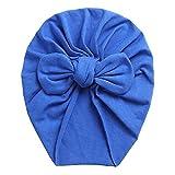 Gorros de algodón Lisos para bebés, Bonitos turbantes con Lazo en la Oreja de Oso, Gorros elásticos Suaves y Dulces 0-4T para bebés recién Nacidos, niñas, Diademas-Bow Royal
