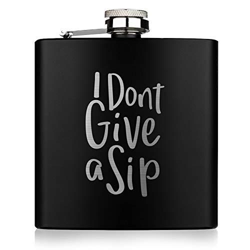 Geschenkfreude Flachmann Schwarz 180ml hip flask black 6oz I Lustige Flachmänner I Alkohol Flasche I personalisiert mit Gravur das Geschenk für Männer und Frauen Vatertag Spruch