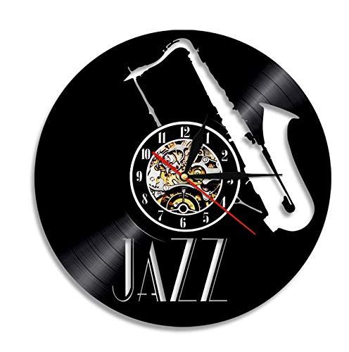 Vinilo de Pared Reloj Reloj de Pared con Disco de Vinilo de Jazz Instrumentos Musicales diseño Moderno Arte de Pared Vintage decoración Interior de Sala de Estar Reloj 12'