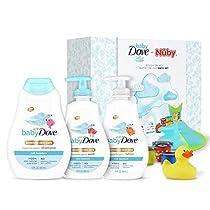 Baby Dove + Nuby Splish Splash Bathtime Gift Set Body Wash, Shampoo, Lotion, Hot Safe Bath Duck, Stacking Cups and Tear-Free Rinse Pail Dermatologist Tested