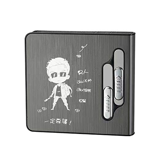 Pitillera con encendedor de arco doble, 20 unidades, caja de cigarrillos de tamaño normal, recargable, resistente al viento, sin llama, mechero USB portátil, tamaño King 2 en 1