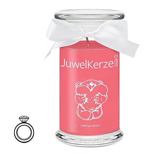 JuwelKerze Lieblingsmensch - Kerze im Glas mit Schmuck - Große rote Duftkerze mit Überraschung als Geschenk für Sie (Silber Ring, Brenndauer: 90-120 Stunden)(L)