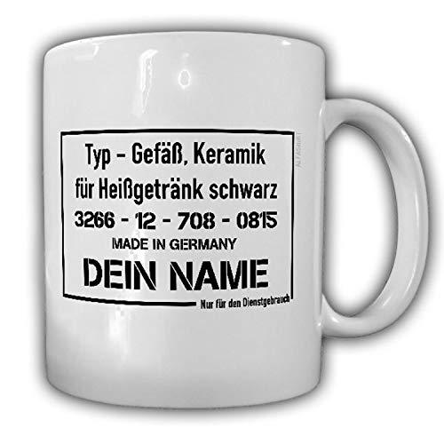 Tasse VS-NfD mit NAMEN Bundeswehr Fun Nur für den Dienstgebrauch Gefäß #24940