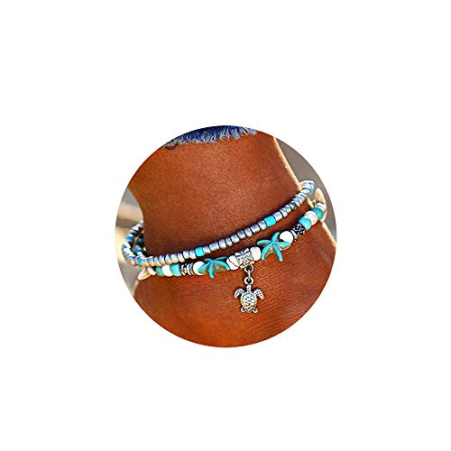Softones Blue Starfish Turtle Anklet Multilayer Charm Beads Sea Handmade Boho Anklet Foot Jewelry for Women Girl (Finding The Best Female Ankle Tattoos)