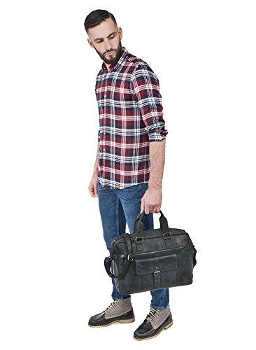 Robuste Aktentasche aus Leder, Lehrertasche Leder mit Laptopfach bis 15 Zoll DIN A4 Laptoptasche Damen aus Leder, Notebooktasche Herren Leder, Ledertasche von URBAN FOREST, Farbe:Schwarz