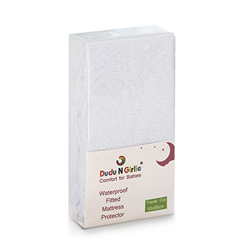 Dudu N Girlie 100 Percent Cotton Travel Cot Waterproof Fitted Sheet, 65 cm x 95 cm