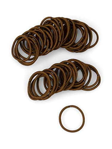 Heliums Small Brown Hair Elastics, 2mm Mini 1 Inch Sized Match Your Color Hair Ties for Kids, Braids and Fine Hair - 48 Count (Medium Brown)
