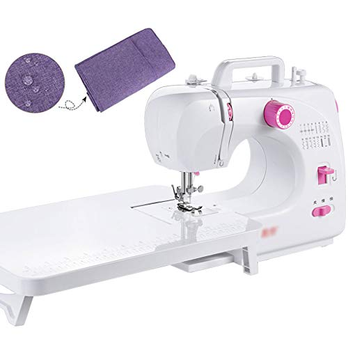 GXFC Professionele mini-naaimachine, draagbare elektrische naaimachine met vrije arm, voor beginners, huishouden, reizen, met stofafdekking