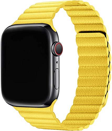 Sresrrw Pulseira de couro para compatível com Apple Watch série 6 40mm 38mm Band Loop de couro pulseira para Correia ajustável de couro com fecho magnético para mulheres homens Série 6/5/4/3/2/1/SE (38mm/40mm, Amarelo)