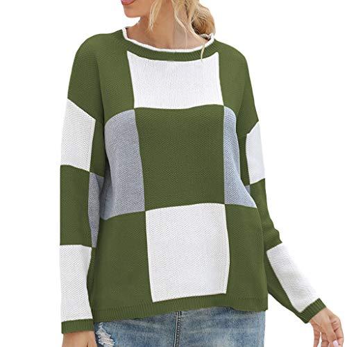 EUCoo - Maglione da donna a maniche lunghe, stile casual, a tinta unita, a tinta unita Verde S