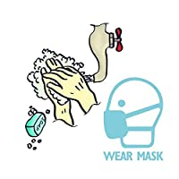 PVC Publicity Wall Sticker Cartoon Hand Washing Mask Sign Warning Decals Publicity Wall Sticker Prevention