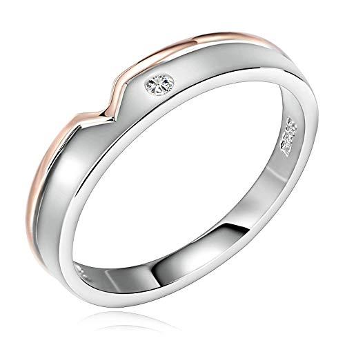 Anello di fidanzamento in argento Sterling con zirconi cubici a forma di cuore a V in argento, 3 mm e 4 mm di larghezza e Argento, 22, colore: Anello da uomo., cod. LQKISSJZR67
