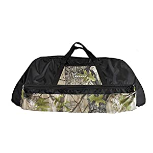 KHAMPA Compound Bow Case, Soft Bow Case, Archery Deluxe Bow Bag – Fits Compound Bows and Arrows | Black with Camo Trim