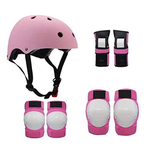 Jidesheying 1Set 7 in 1 Kinder Kinder Sport Skateboard-Schutz-Sets Fahrrad Roller Skating BMX Skateboard Helm/Ellenbogenschutz/Knieschützer/Handgelenk-Pads (Color : Black, Size : -)