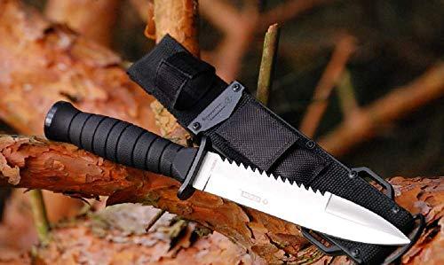 VIKING GEAR Polizei Einsatzmesser - taktisches Messer mit Säge - Kampfmesser - Selbsverteidigung Outdoor Knife, Silber schwarz