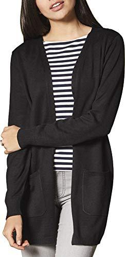 Esmara® Damen Feinstrick-Cardigan Longstrickjacke mit offenem V-Ausschnitt (schwarz, Gr. S 36/38)