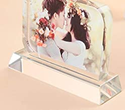 Moonlove Personalized Crystal Glass Photo Frame DIY Plaque Photo Print,Desktop Decor Rectangle Picture Frames with Stands,Customized Birthday Wedding Valentine's Day Christmas Photo Gift