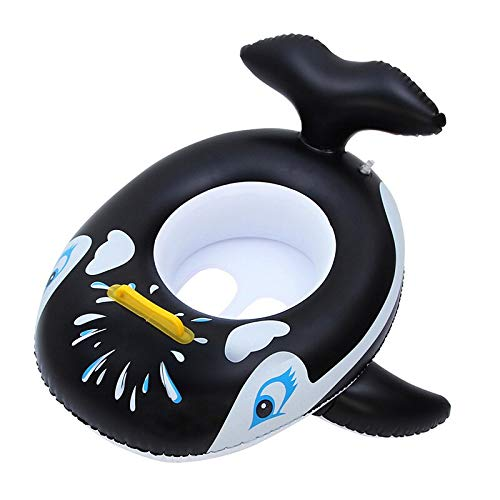 Jhana Swimming Ring Water Wheel Swimming Whale Shaped Inflatable Rubber Ring (Black)