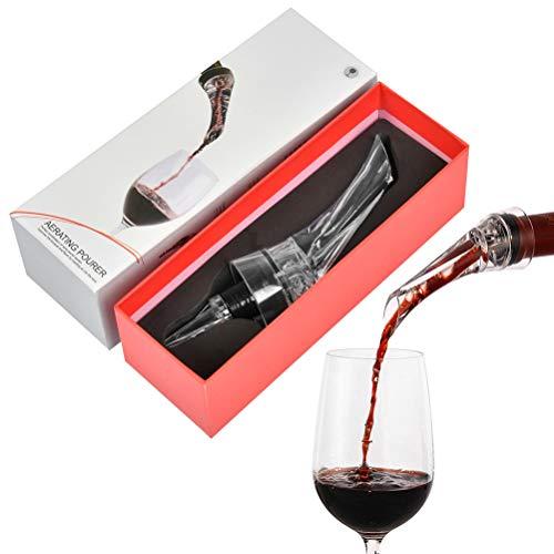 OFNMY Aireador de Vino Tapón Vertedor Decantador con Sistema de Cierre Automático