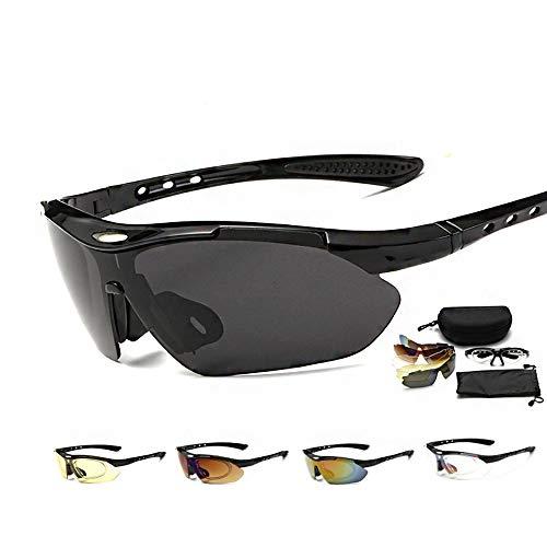 N-B d.Stil Radsportbrillen Herren Polarisierte UV400 Schutz mit 5 Wechselgläser Radbrillen für Outdoor-Sport und Sonnenbrille zum Radfahren