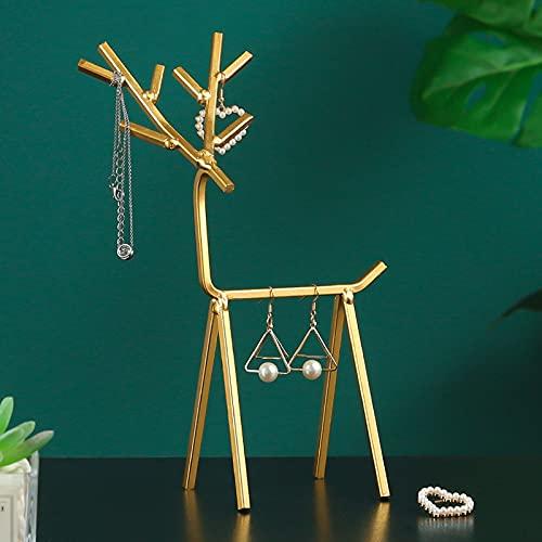 Estante de joyería de ciervos de metal creativo soporte de joyería pendiente almacenamiento estante de la muchacha habitación de escritorio joyería exhibición de la joyería