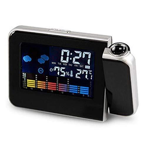 Projektionsuhr LED Farbbildschirm Wettervorhersage Uhr Lazy Electronic Clock Perpetual Calendar Wetterstation (schwarz)